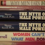 A frame of Dr. Warren Farrell's books from Cassie Jaye's documentary THE RED PILL.